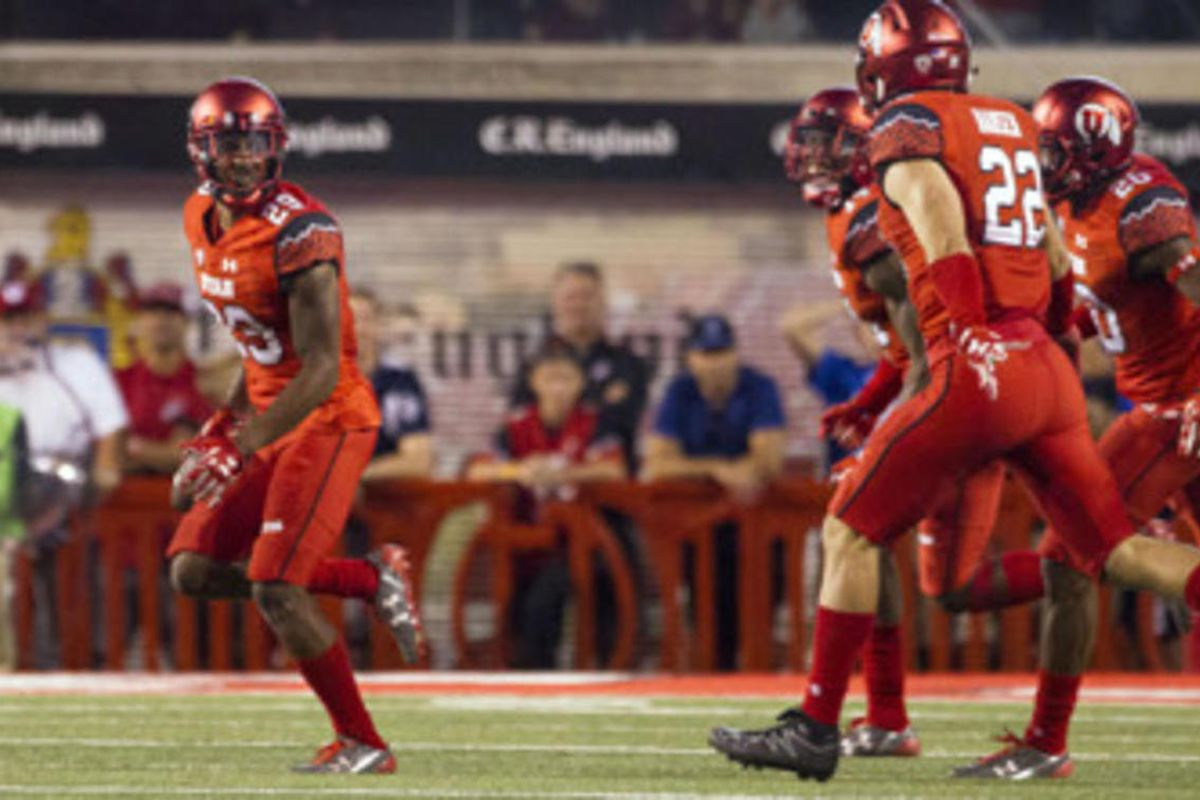 Utah Utes defensive back Reginald Porter (29) celebrates after intercepting a pass against the Brigham Young Cougars during an NCAA football game in Salt Lake City on Saturday, Sept. 10, 2016. Utah defeated BYU 20-19 for its sixth-consecutive win.