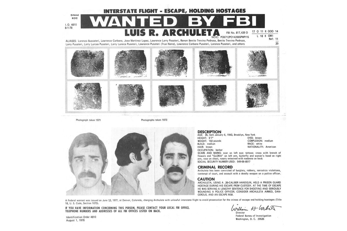 FBI Bulletin for Luis Archuleta (AKA Lorenzo Pusateri) four years after his second prison escape.