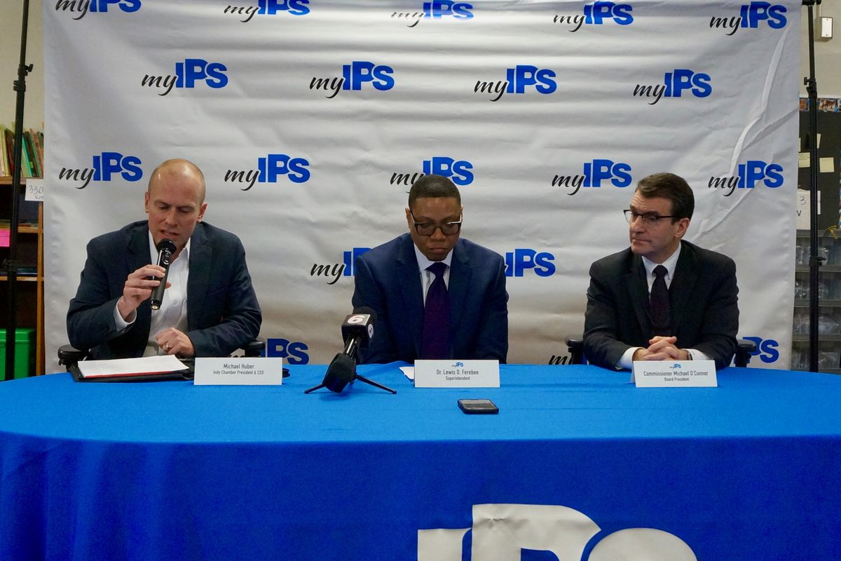 Indy Chamber CEO Michael Huber, IPS Superintendent Lewis Ferebee, and IPS Board President Michael O'Connor during a press briefing Monday night.