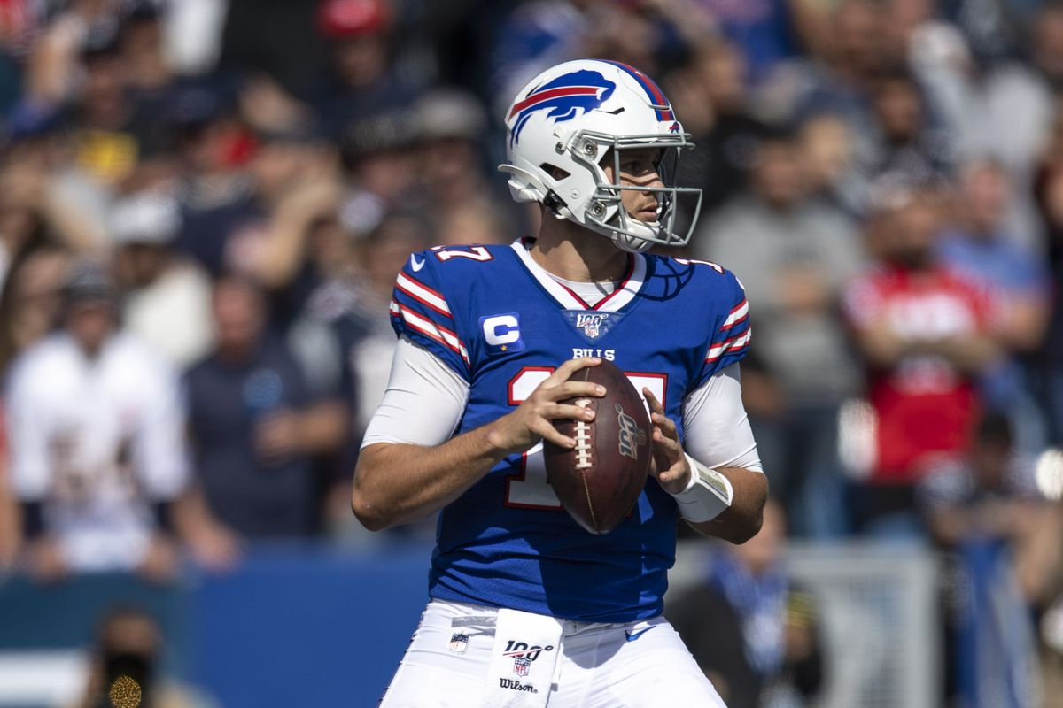 Buffalo Bills quarterback Josh Allen looks to pass during the second quarter against the New England Patriots at New Era Field.