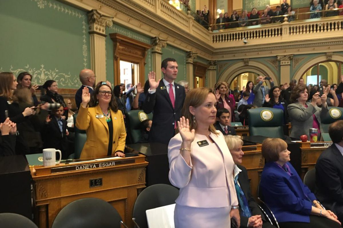 Speaker of the House K.C. Becker is sworn in on the first day of the 2019 Colorado legislative session.