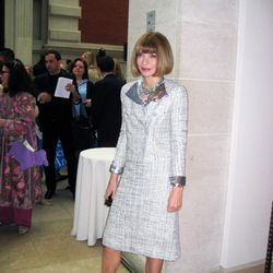 Anna Wintour poses after the press preview