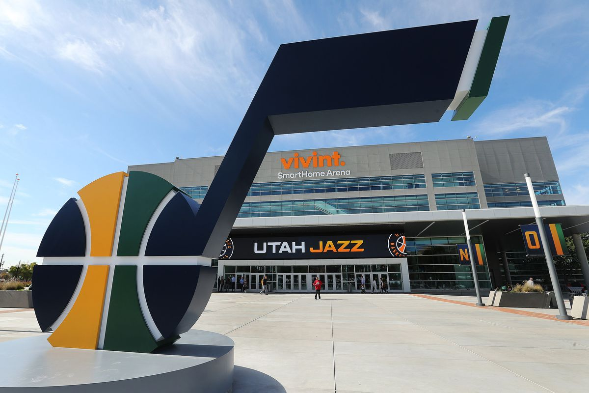 The Miller family unveiled the new 14-foot high J-Note statue on the plaza of Vivint Arena and let the public take self-guided tours of the renovation arena in Salt Lake City on Tuesday, Sept. 26, 2017.