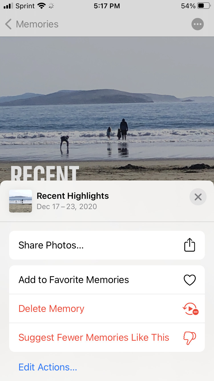 """Long-press the photo and tap on """"Suggest Fewer Memories Like This."""""""