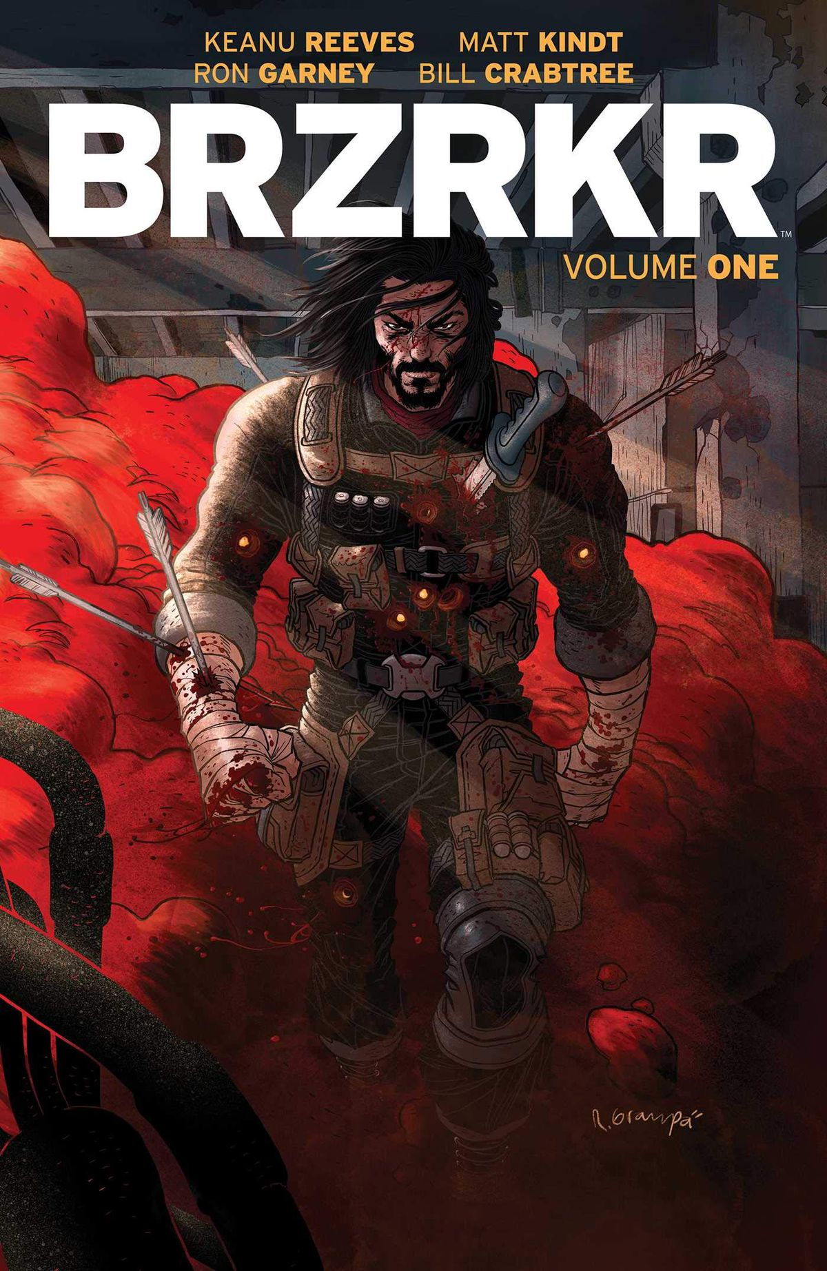 A bloodied soldier walks out of a pitched battle and towards the reader — he looks like a bearded and long-haired Keanu Reeves — on the cover of BRZRKR Vol. 1 (2021).