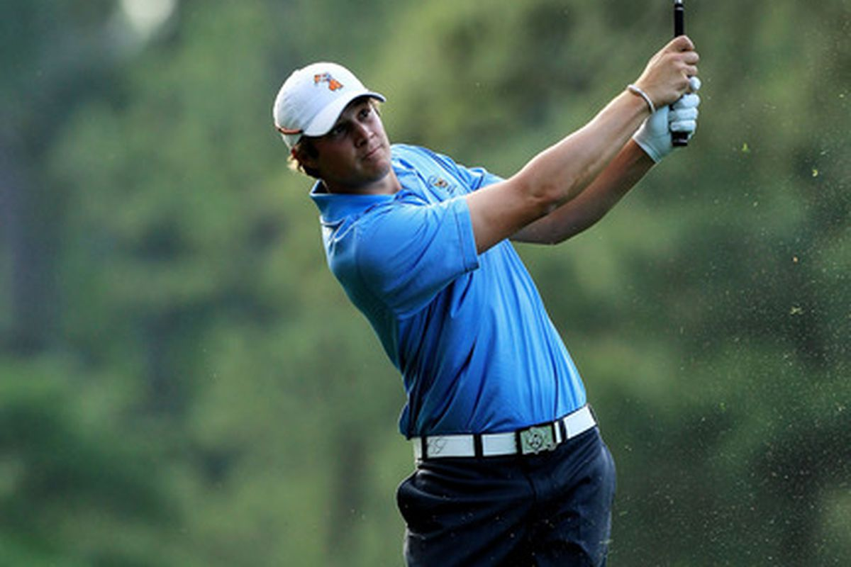 Peter Uihlein today at Augusta. Check the Pistol Pete hat and belt.  Peter hit a very respectable EVEN round today.