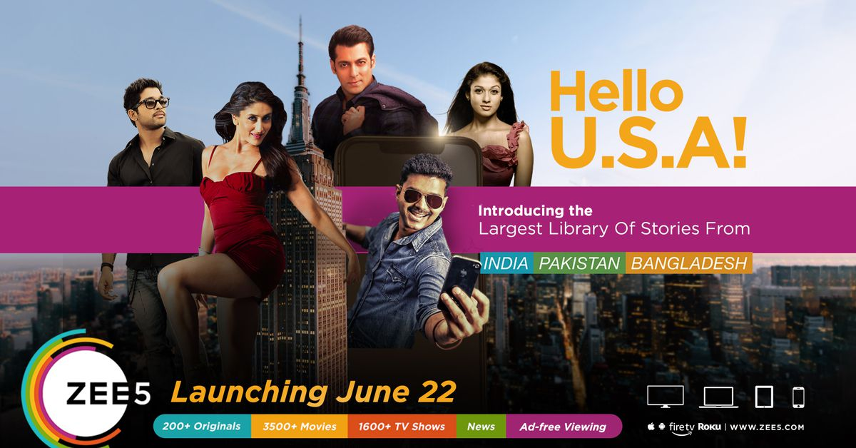 South Asian streaming service Zee5 launches in the US