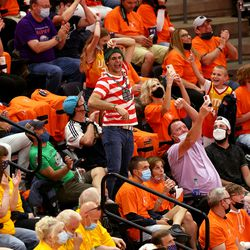 A fan dressed as Waldo celebrates after winning a dance-off as the Utah Jazz and the Memphis Grizzlies play in game 5 at Vivint Arena in Salt Lake City on Wednesday, June 2, 2021. Utah won 126-110, Utah advances to the second round.