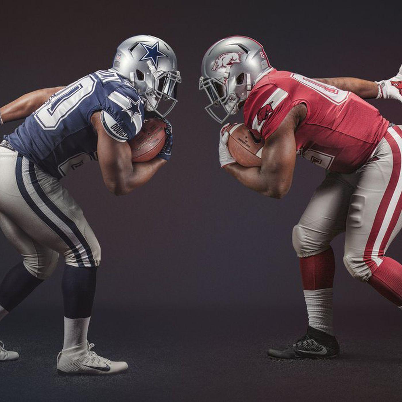 promo code 6bc35 53b09 Why Arkansas is wearing 'Dallas Cowboys' uniforms vs. Texas ...
