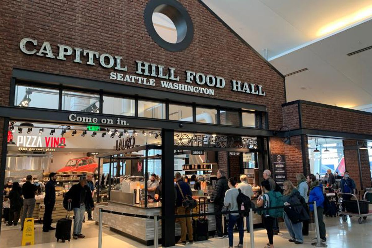 The exterior of Capitol Hill Food Hall at Sea-Tac airport.