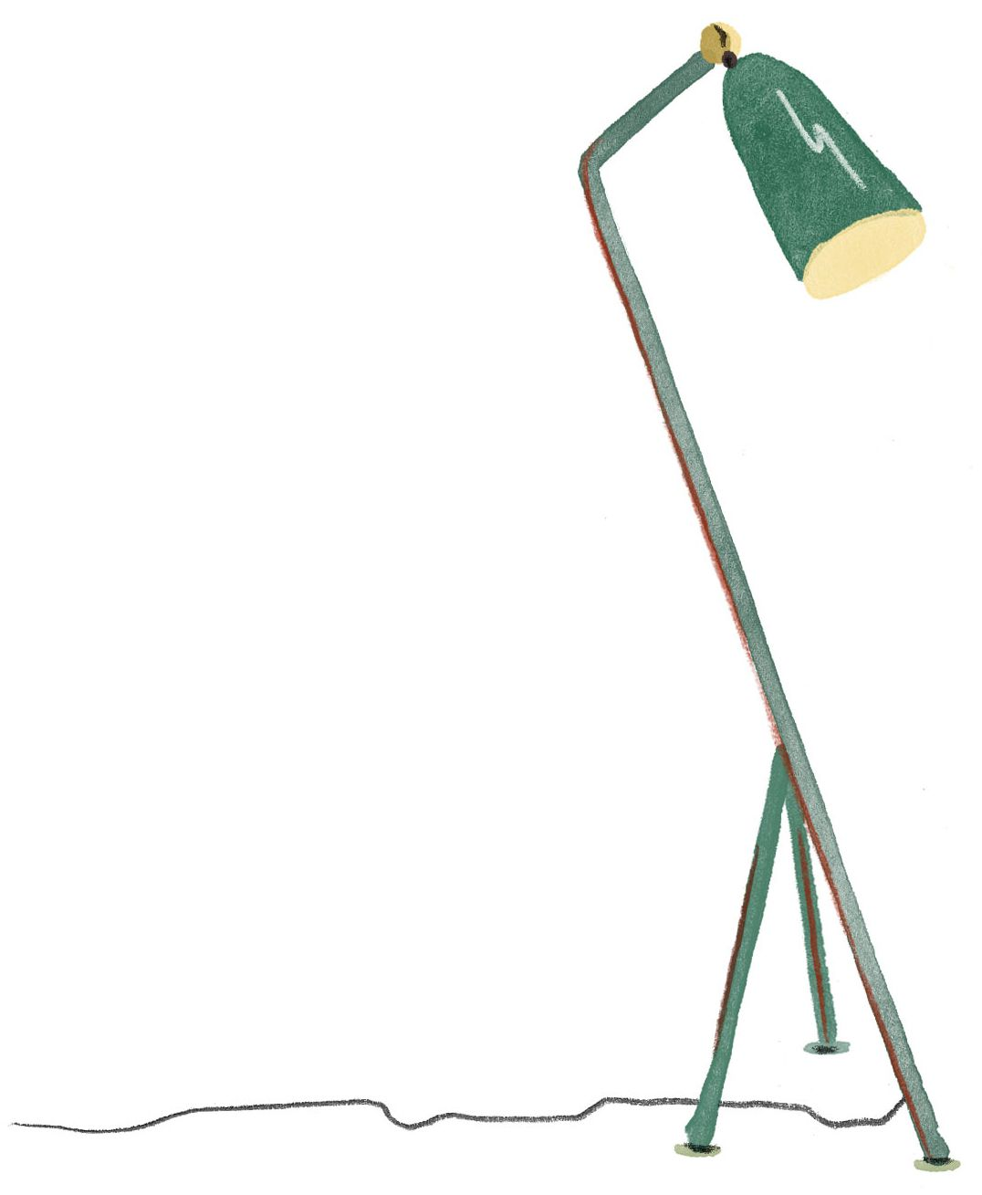 A skinny mental pole extends from a three-legged base. There is a joint at the top of the pole that bends to hold a lamp shade. It is a drawing of an industrial-modern light fixture. Illustration.