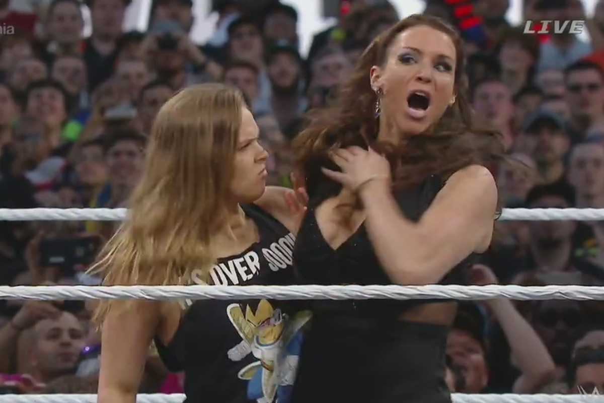 Ronda Rousey judo tosses Triple H, beats up Stephanie McMahon at