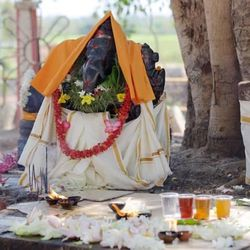The Munesvaram Temple, near Chilaw, Sri Lanka, is dedicated to the Hindu god Shiva. At this shrine around a large tree near the temple includes an image of the god Ganesh, which has been anointed, dressed with garments, festooned with garlands of flowers.
