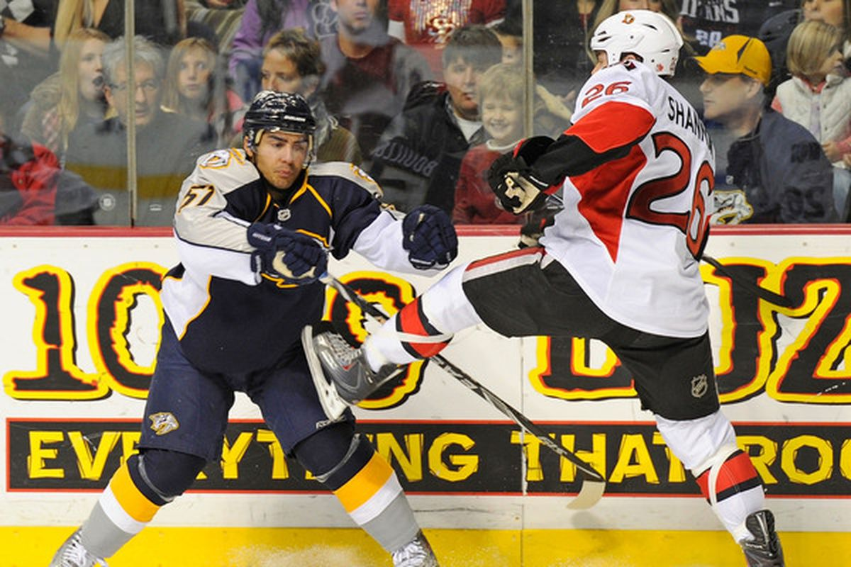 The 3 year ban on the Senators in Nashville for this vicious skate-kick to the groin is finally over