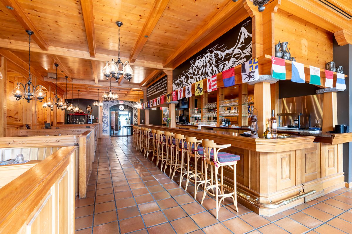 The bar at the restaurant, with wine and beer for sale