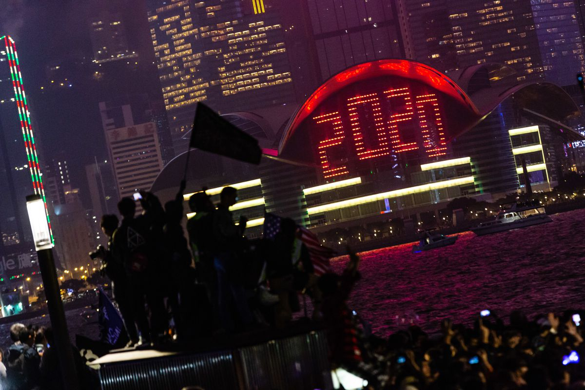 A LED display celebrating 2020 during the demonstrations.