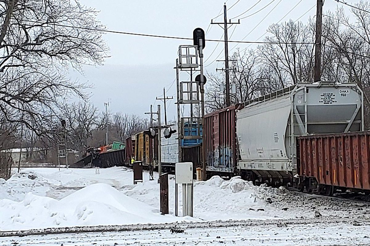 A CN freight train derailed Monday in West Chicago.