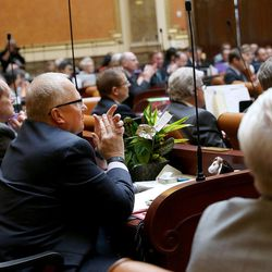 Rep. Mike Noel, R-Kanab, applauds during an address by House Speaker Greg Hughes, R-Draper, in the House of Representatives on the first day of the Utah Legislature at the Capitol in Salt Lake City on Monday, Jan. 25, 2016.
