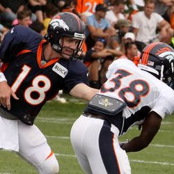 Peyton Manning hands off to RB Montee Ball in training camp's fifth day