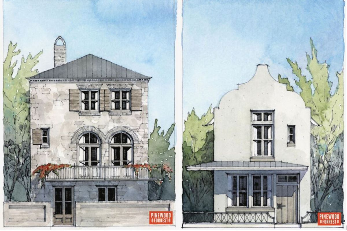 Water color paintings of narrow homes inspired by European style.
