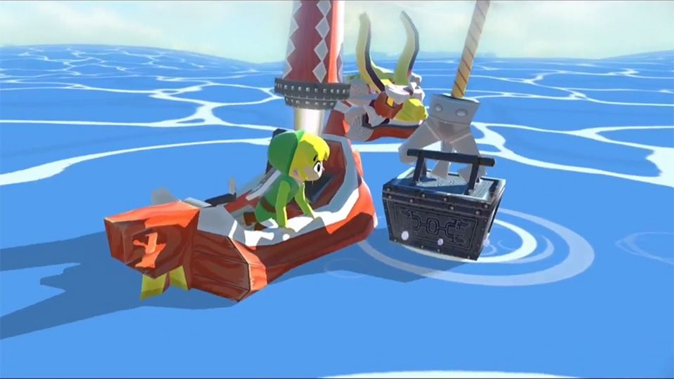 Link on a boat next to an anchor in The Legend of Zelda: The Wind Waker