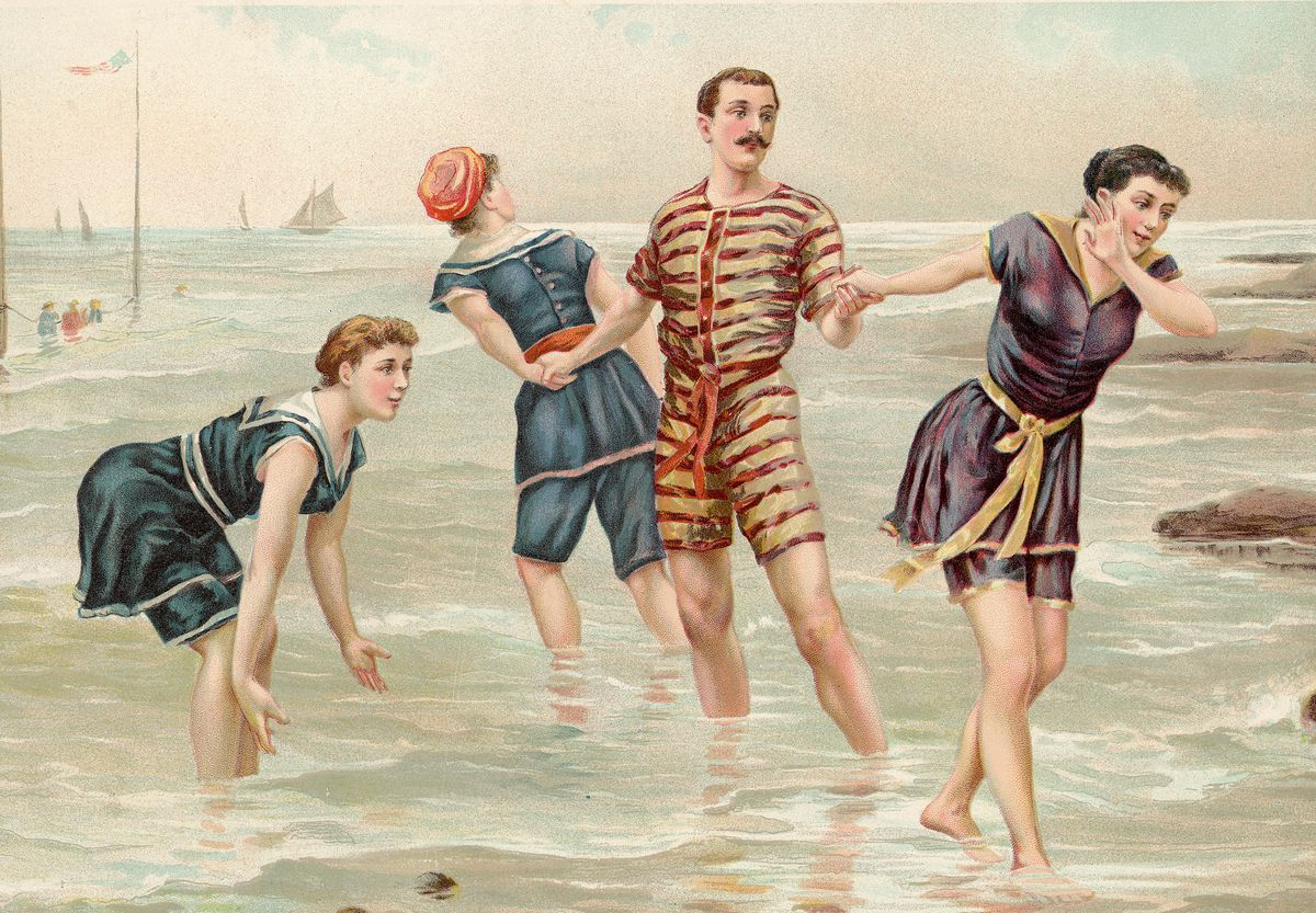 In the 1880s, going for a swim was a tangled affair.