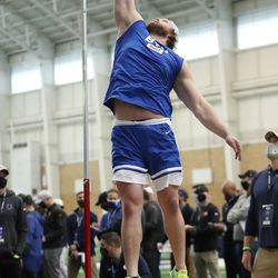 Offensive lineman Brady Christensen participates in the vertical jump during BYU pro day in Provo on Friday, March 26, 2021.