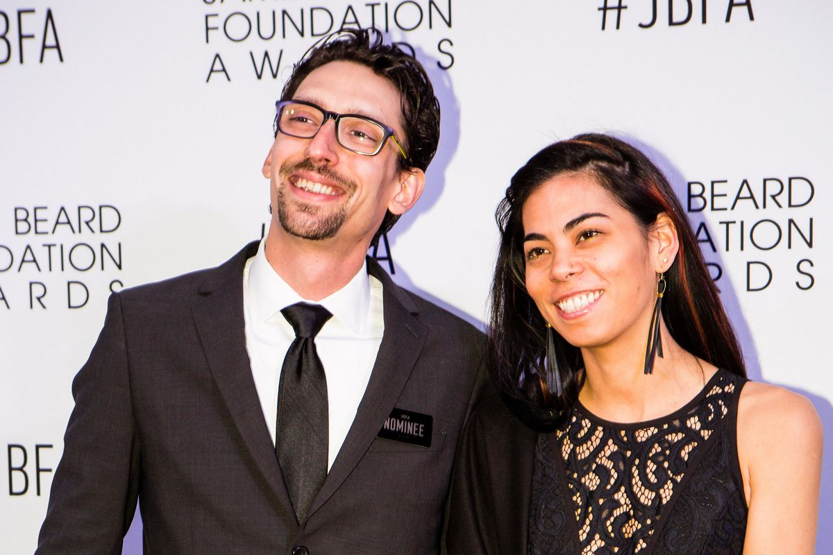 Chef Abraham Conlon, of Fat Rice (left, with business partner Adrienne Lo) attend the 2016 James Beard Foundation Awards in Chicago. | James Foster/For the Sun-Times
