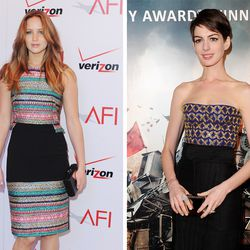 Jennifer Lawrence (L) and Anne Hathaway (R) carrying Jill Milan clutches. Photos: Getty