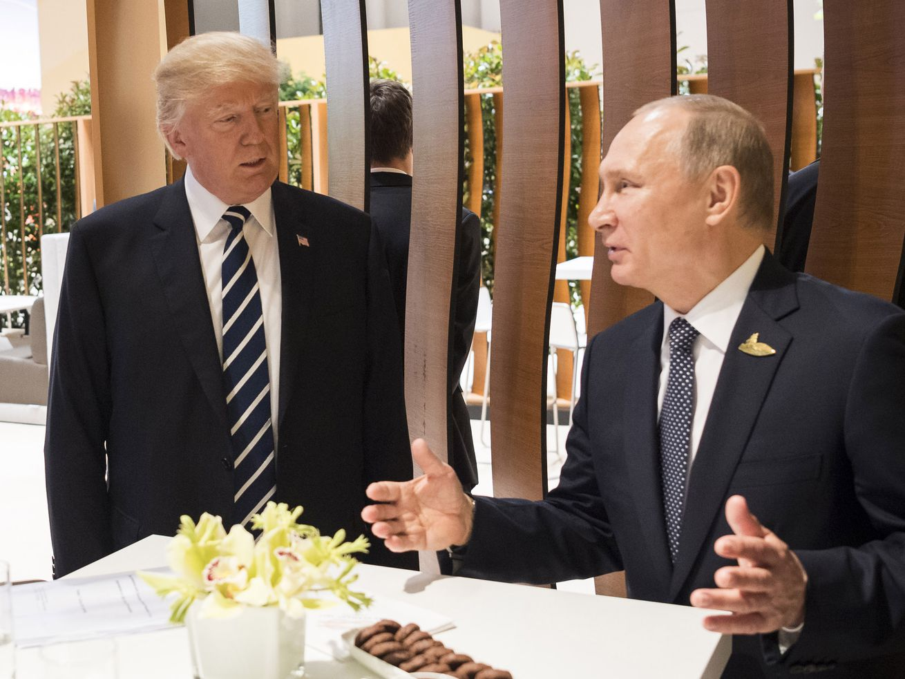 President Donald Trump meets with Russian President Vladimir Putin in 2017.