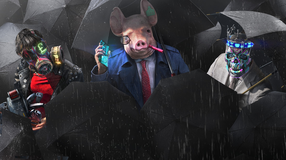 A person wearing a pig mask looking at the camera and holding a cellphone