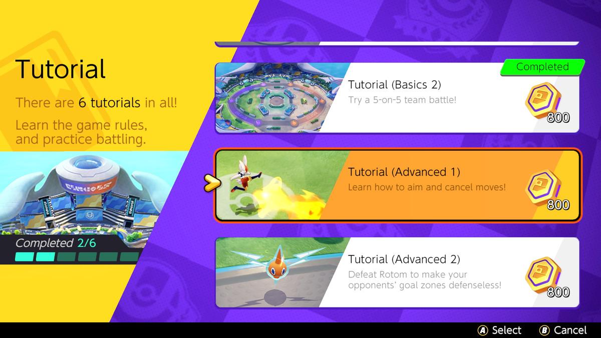 The tutorials screen in Pokémon Unite