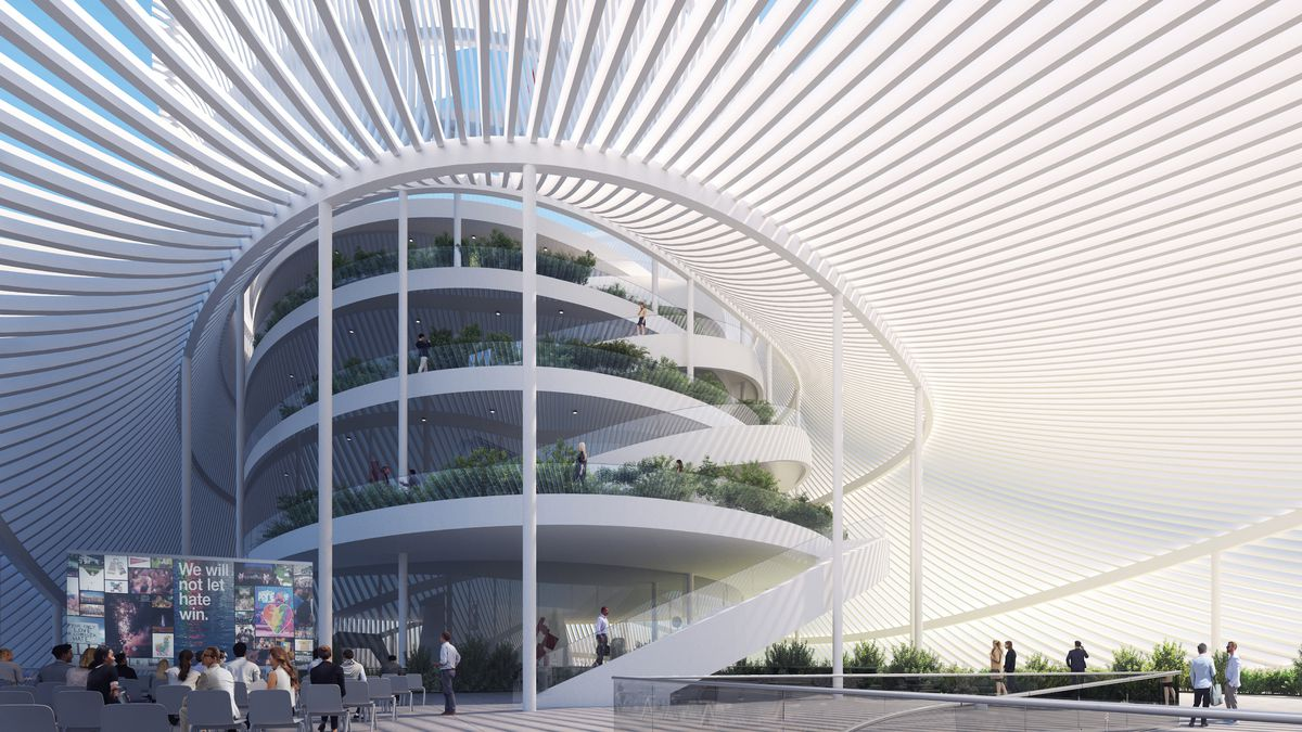 A rendering of museum featuring a slatted white roof and winding promenade that spirals toward a rooftoop garden