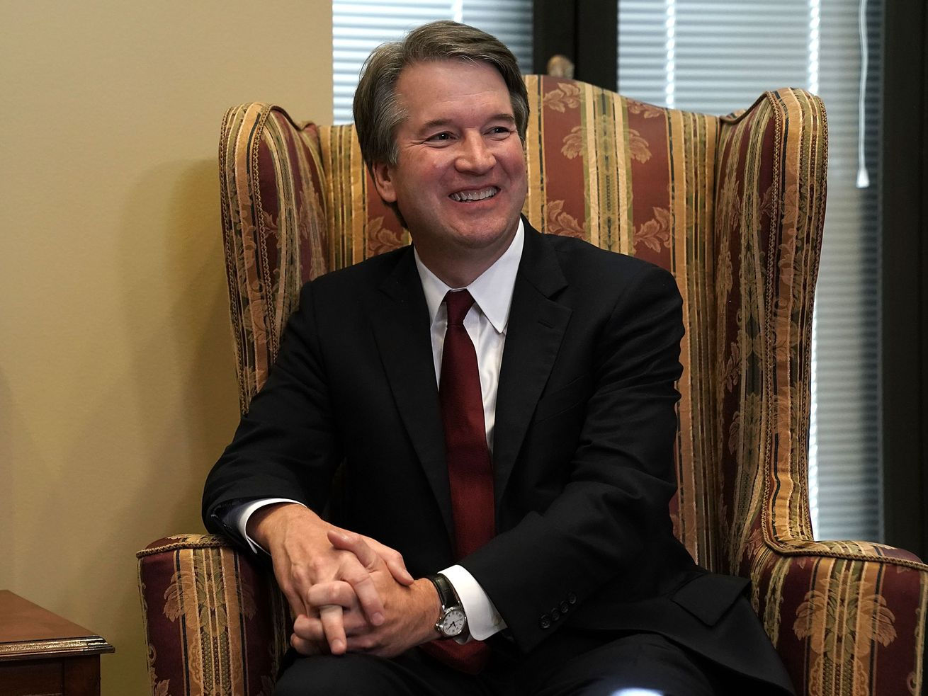 Supreme Court nominee Judge Brett Kavanaugh during a meeting with Sen. Dean Heller (R-NV) on July 18, 2018, in Washington, DC.
