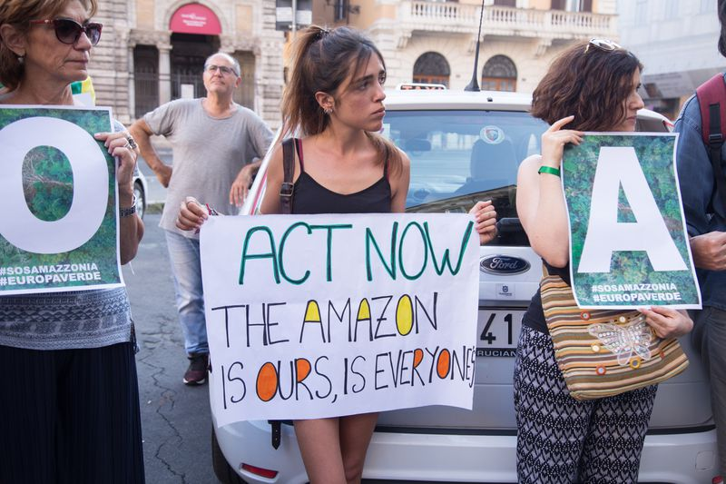 Demonstration near the Brazilian Embassy in Rome in defence of the Amazonian forest that is burning in Brazil.