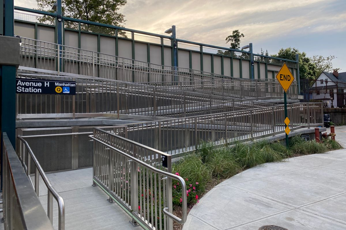 A newly installed wheelchair accessible ramp at the Ave H station of the Q Train in Brooklyn.