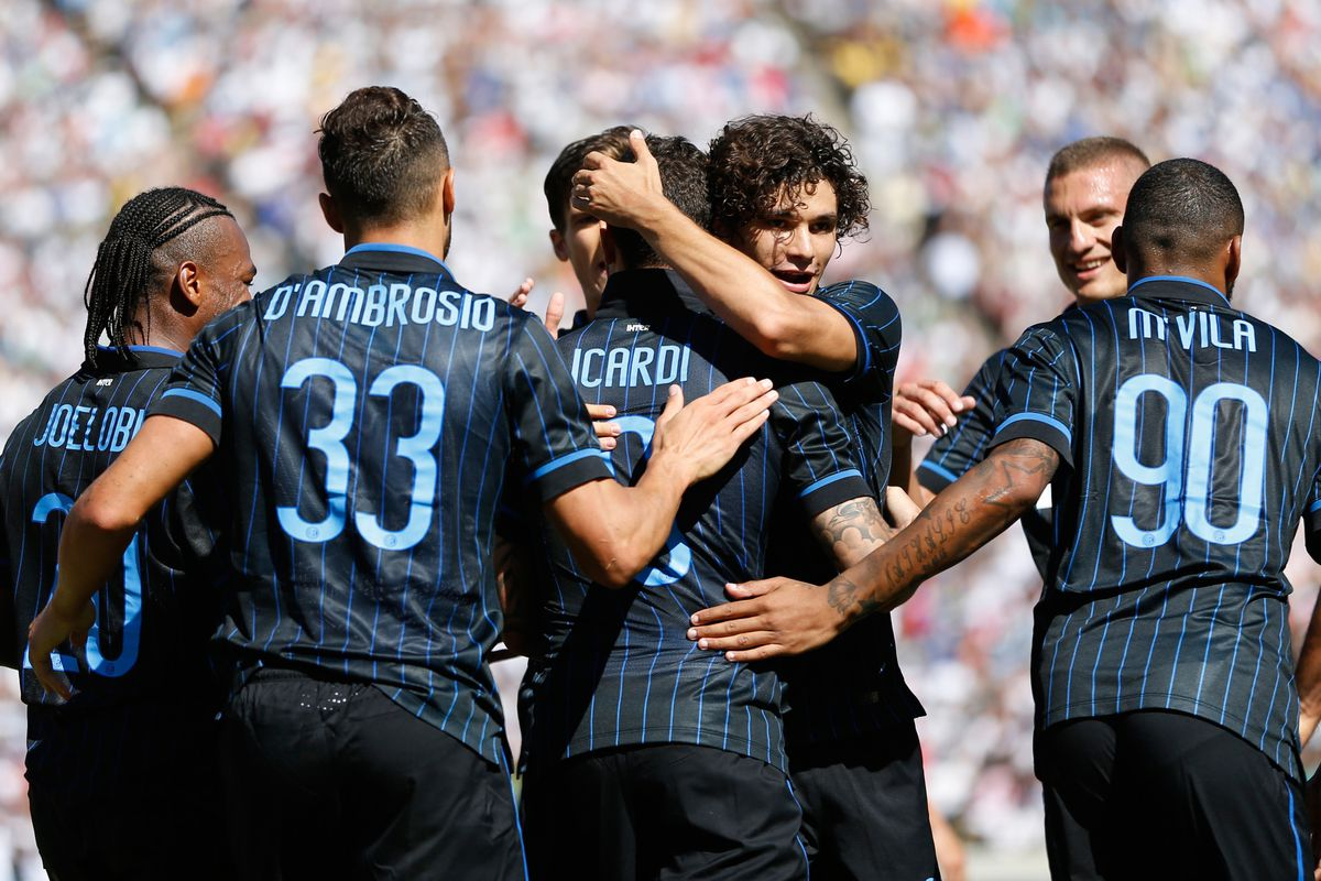 Inter celebrates the win as they beat Champions League winner Real Madrid.