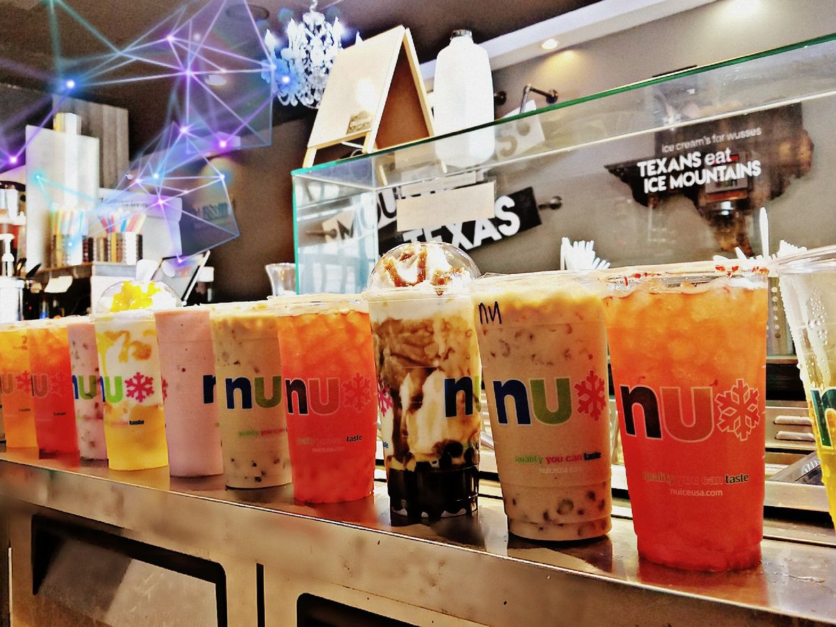 A line-up of boba teas at Nu Ice