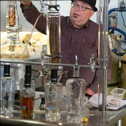 """Currently distilling bergamot peels in the small still, Hillesland describes the distillation process and says, """"The only changes I make are to keep each batch exactly the same."""""""