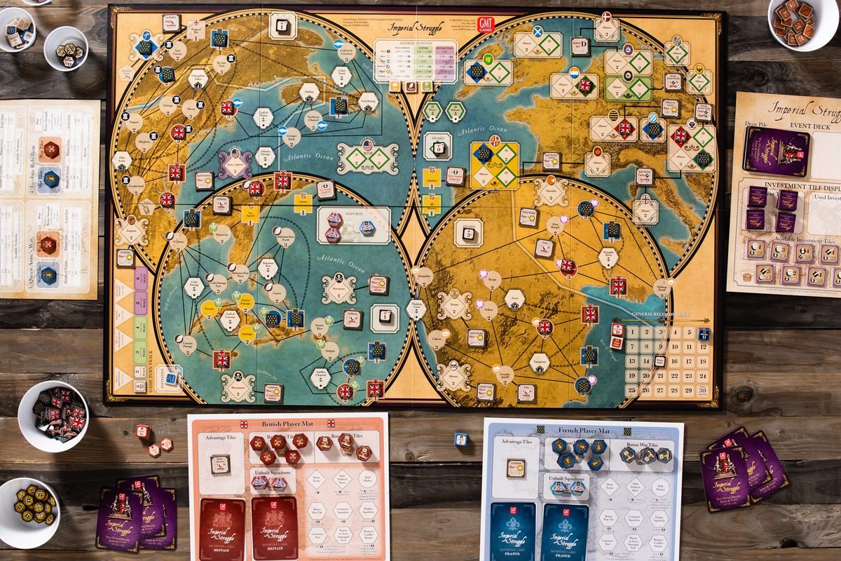A game of Imperial Struggle Struggle laid out for solo play.
