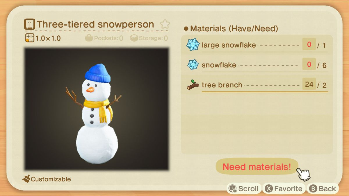 An Animal Crossing recipe for a Three-tiered Snowperson