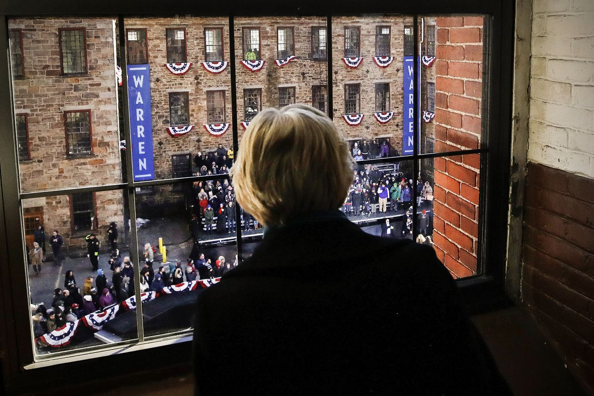 Sen. Elizabeth Warren (D-MA), looks out as a crowd gathers for an event where she formally launched her presidential campaign, in Lawrence, Massachusetts, on February 9, 2019.