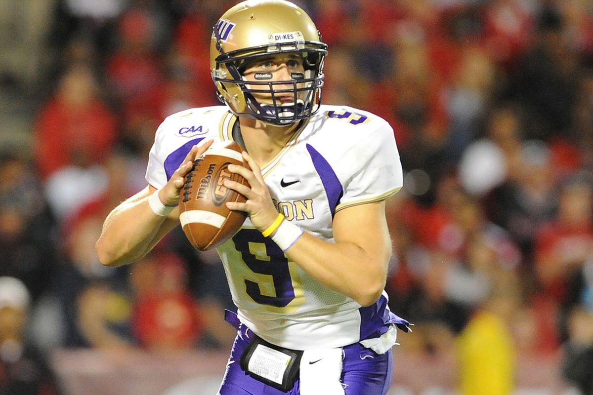 """JMU QB Drew Dudzik. Photo provided by <a href=""""http://www.caasports.com"""" target=""""new"""">CAA communications</a>."""