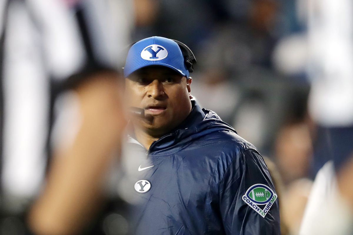 BYU coach Kalani Sitake, walks off the field after a timeout as BYU and USF play in Provo on Saturday, Sept. 25, 2021.