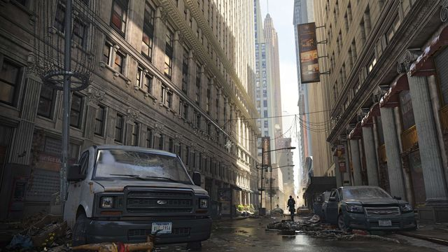 A deserted downtown Manhattan street following a viral outbreak that ravaged the city the preceding winter