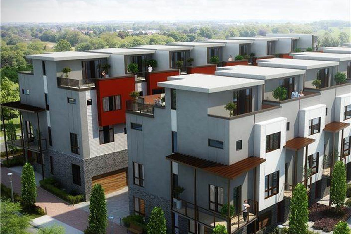 A rendering of new townhouses coming together in Reynoldstown.