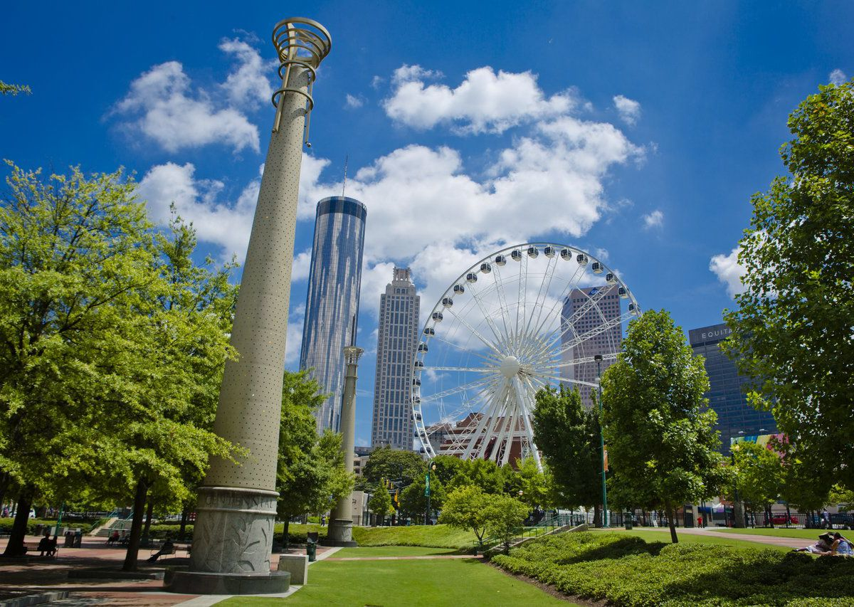 Centennial Park in the foreground with the Atlanta ferris wheel in the background.