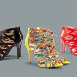 Lace-up pumps in black, Nolita print, and Apple red, $39.99 each