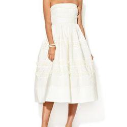"""<a href=""""http://www.gilt.com/sale/women/wedding-gowns-ft-oscar-de-la-renta/product/1005513586-bhldn-silk-strapless-garden-trim-dress"""">BHLDN Silk Strapless Garden Trim Dress</a>, $299 (was $600)"""