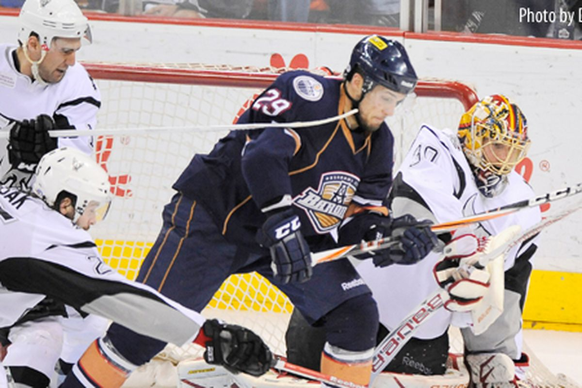 Chris VandeVelde, 29, scored the Barons' second overtime goal of the series on Monday, giving Oklahoma City a 2-1 lead on San Antonio. Photo by Darren Abate